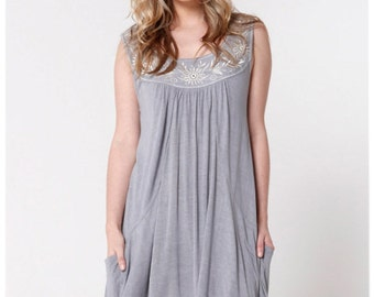 Fair Trade Embroidered Sleeveless Loose Top Large Tunic Dress - Grey size 14 16