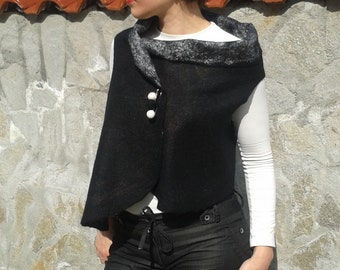 Felted vest, merino wool vest,trendy vest, felted clothing, women's fashion