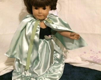 Pale green satin gown with cape for your American girl