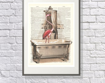 Flamingo in the Bath - Vintage upcycled handmade dictionary Print - Suitable for the Bathroom - Surreal