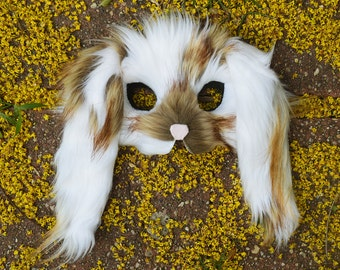 Floppy Eared Spotted Bunny Mask, handmade by Spirit Parade
