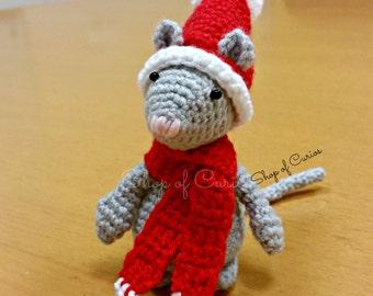Handmade Crochet Christmas Mouse