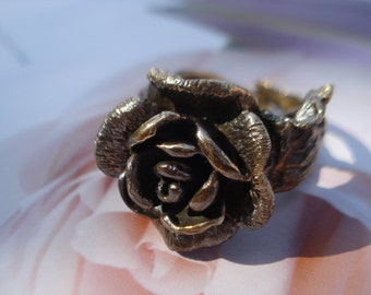 Rose Ring - Brass Metal Oxidized Ring - Adjustable Ring R206