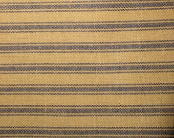 "Mustard Ticking Homespun Fabric Fat Quarter Half Yard 2"" Strips Primitive Cotton Fabric Dunroven House Spiced Pumpkin Fall Homespun"