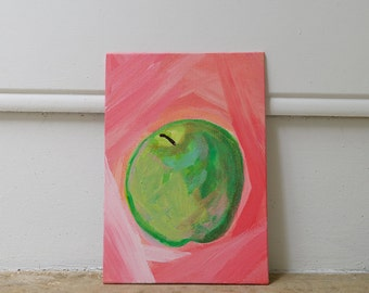 Pink Green Apple Acrylic Painting on Canvas 5x7