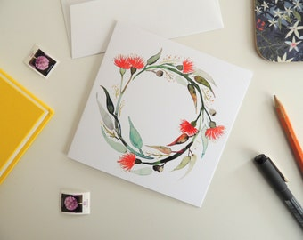 Greeting Card - Australian Wreath - Square/Blank