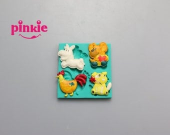 Animals modelling silicone fondant molds, silicone cake mould,fondant cake decorating tools wholesale F1312