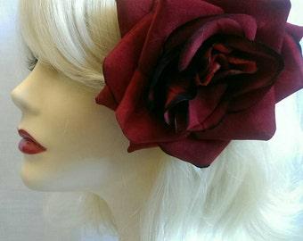 Red XL velvet rose hair clip
