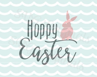 Happy Hoppy Easter SVG Vector File. Cute for many uses! Cricut Explore and more. Happy Easter Bunny Hoppy Easter SVG