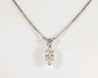 Elegant 14k White Gold and Marquise Diamond Pendant Necklace