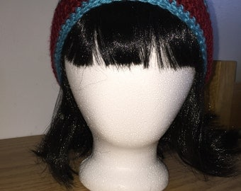 Red and Blue Striped Slouchy Hat