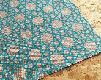 Korla fabric- Alhambra Turquoise- Curtain Fabric- Geometric Fabric- Eastern Fabric- Turquoise Blue Fabric- Moroccan Style- Turquoise fabric
