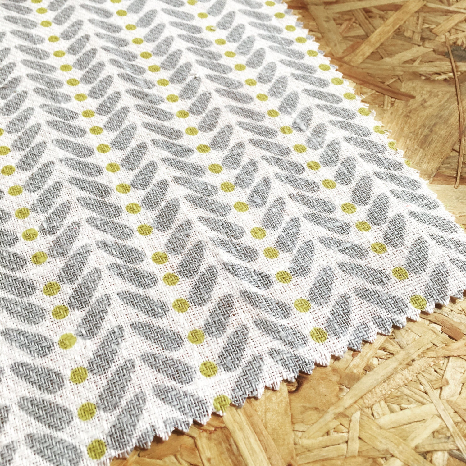 Yellow and grey fabric curtain fabric scandinavian by whoaboho for Space curtain fabric