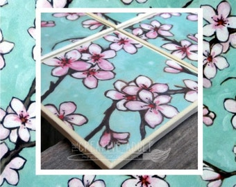 Cherry Blossom Ceramic Coasters - Choice of set quantity - Cork Backing