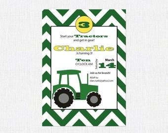 John Deere Birthday Invitation, Farm Birthday Invitation, Tractor Party, First Birthday Invitation
