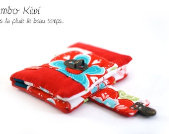 Portfolio red corduroy, cloth flowers 70's with clasp satchel