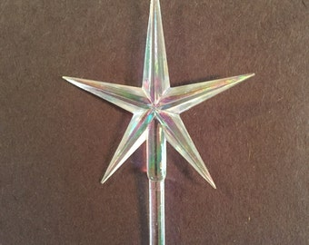 """CLEAR Iridescent AURORA LARGE Star Topper Ceramic Christmas Tree Lights Replacements 2.5"""" Wide 3/16"""" Stem Diameter 4"""" High + Other Colors"""