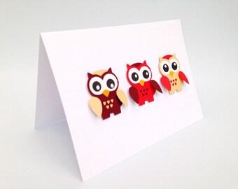 Owl handmade greeting card ~ owl card ~ Red owl card ~ Blue owl ~Paper handmade greeting cards ~ Owl birthday card ~ Handmade blank owl card
