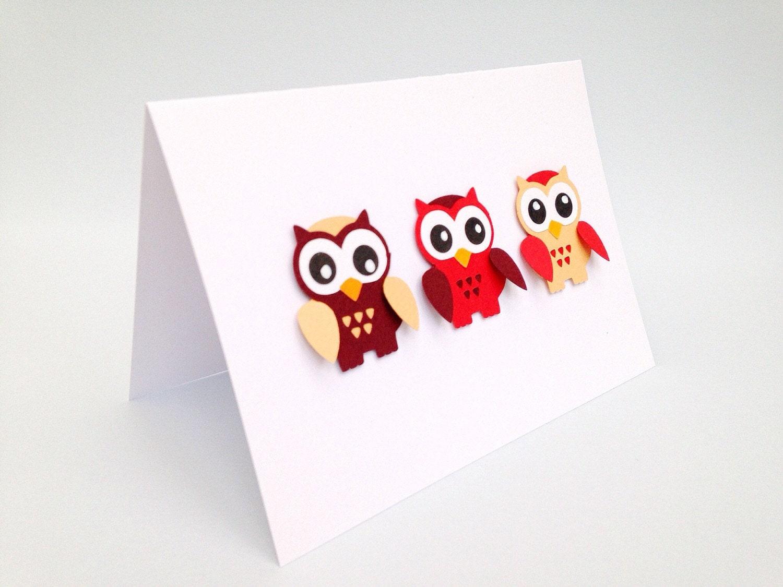 Owl handmade greeting card owl card Red owl card Blue