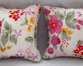 Vintage Floral Print Cushions in Pink & White 1/12th Scale