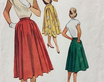 McCall's 8705 vintage 1950's misses full skirt sewing pattern waist 28