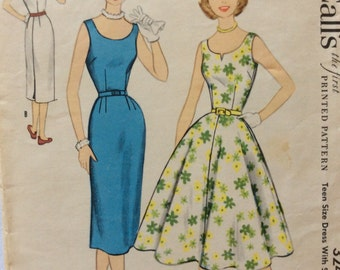 McCall's 3240 vintage 1950's misses wiggle dress w/slim or full skirt sewing pattern size 12 bust 30