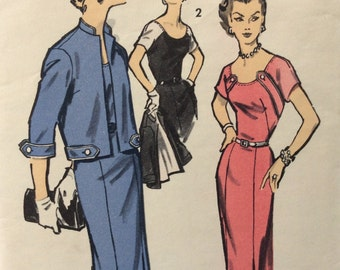 Advance 7890 misses sheath dress w/bodice detail & jacket size 14  bust 32 vintage 1950's sewing pattern