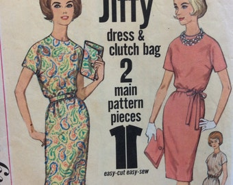 Simplicity 4838 vintage 1960's misses Jiffy dress & clutch bag sewing pattern size 14 bust 34