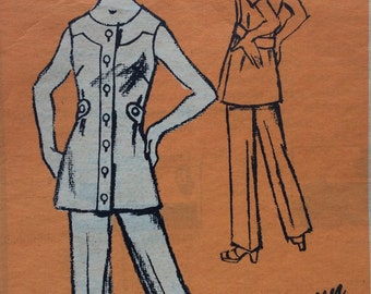 Mail order M311 vintage 1970's misses tunic & pants sewing pattern size 18 1/2 size 18.5 bust 41  Prominent Designer Harwyn