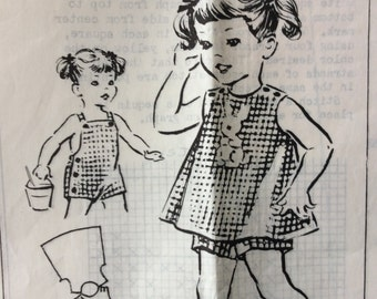 Mail order 2670 vintage 1960's girls sunsuit & topper sewing pattern size 3-4-5