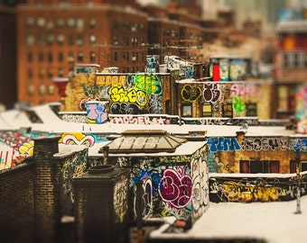 Rooftop Art Print with Colorful Graffiti Designs, New York City Blurred Background Photograph, NYC Unique Urban Wall Art Photo Print