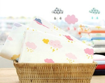 Baby Cotton Knit Fabric, Stretch Soft, Very Wide and a Bit Heavy Weight, Pink Clouds,Blue Tornado, Pretty Sun -1/2 yard