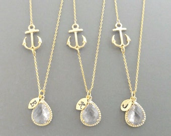 Set of 5-10, Personalized, Letter, Initial, Nautical, Clear, Crystal, Anchor, Gold, Silver, Necklace, Set, Bridesmaid, Bridal, Gift, Jewelry