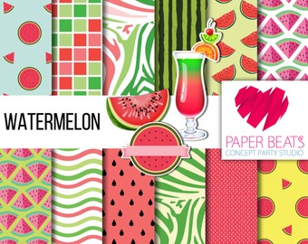 WatermelonPatterned / 10 x 10 Digital Paper / Instant Download / Scrapbook Craft Supplies