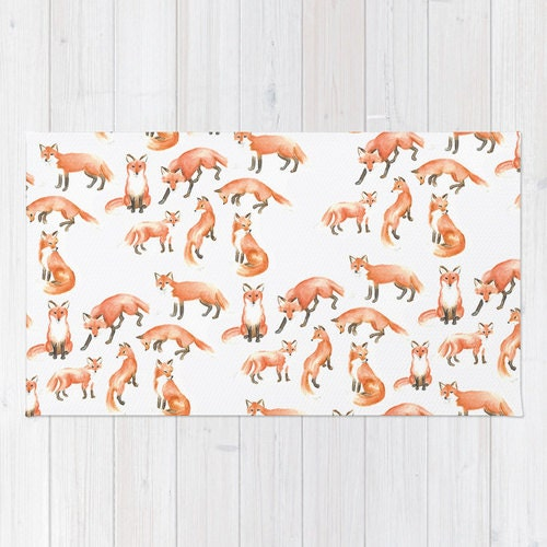 Fox print area rug 2x3 rug Fox Kids room 3x5 rug 4x6 area rug