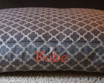 Hayden Grey Dog Bed * Extra Large * Signature Bed * Geometric Chenille Fabric * Embroider Name * Personalize * Custom Pillow Cover * TSD