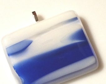 Necklace Blue and white  , medallion, fused glass pendant