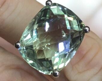 Green amethyst octagon silver 925