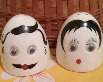 Vintage Salt and Pepper Shakers with Googly Eyes and Mustache, Japan