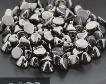 25pcs Czech Glass Button Beads Crystal FULL CHROME - Drop Beads - 4mm [B60]