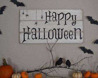 Happy Halloween Wood Sign    Halloween Decor    Holiday Decor    Fall Decor