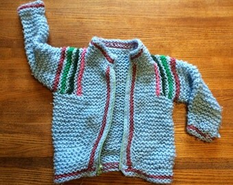 Baby blue crocheted zip up sweater
