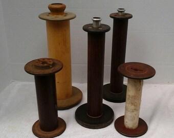 set of 5 vintage wood spools