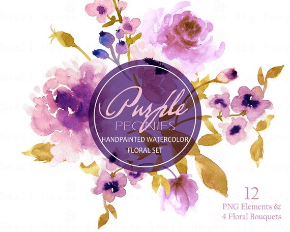 Watercolour Floral Clipart. Handmade, watercolour clipart, wedding diy elements, flowers - Purple Peonies