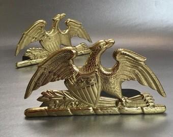 Vintage 1952 Brass Eagle Bookends