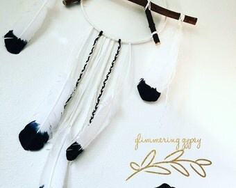 Dream Catcher - Large white and black tipped A shape