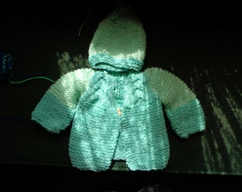hand knit baby sweater with hat in green