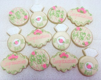 Shabby Chic bridal/engagement cookies