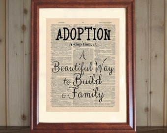 Adoption Dictionary Print, Adoption Quote, Saying about Adoption, Adoption Wall Art, Baby Adoption Gift, Adoption Print on 5x7/8x10 Canvas