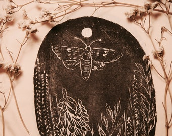 Mothlight Woodblock Printed Patch // Backpatch
